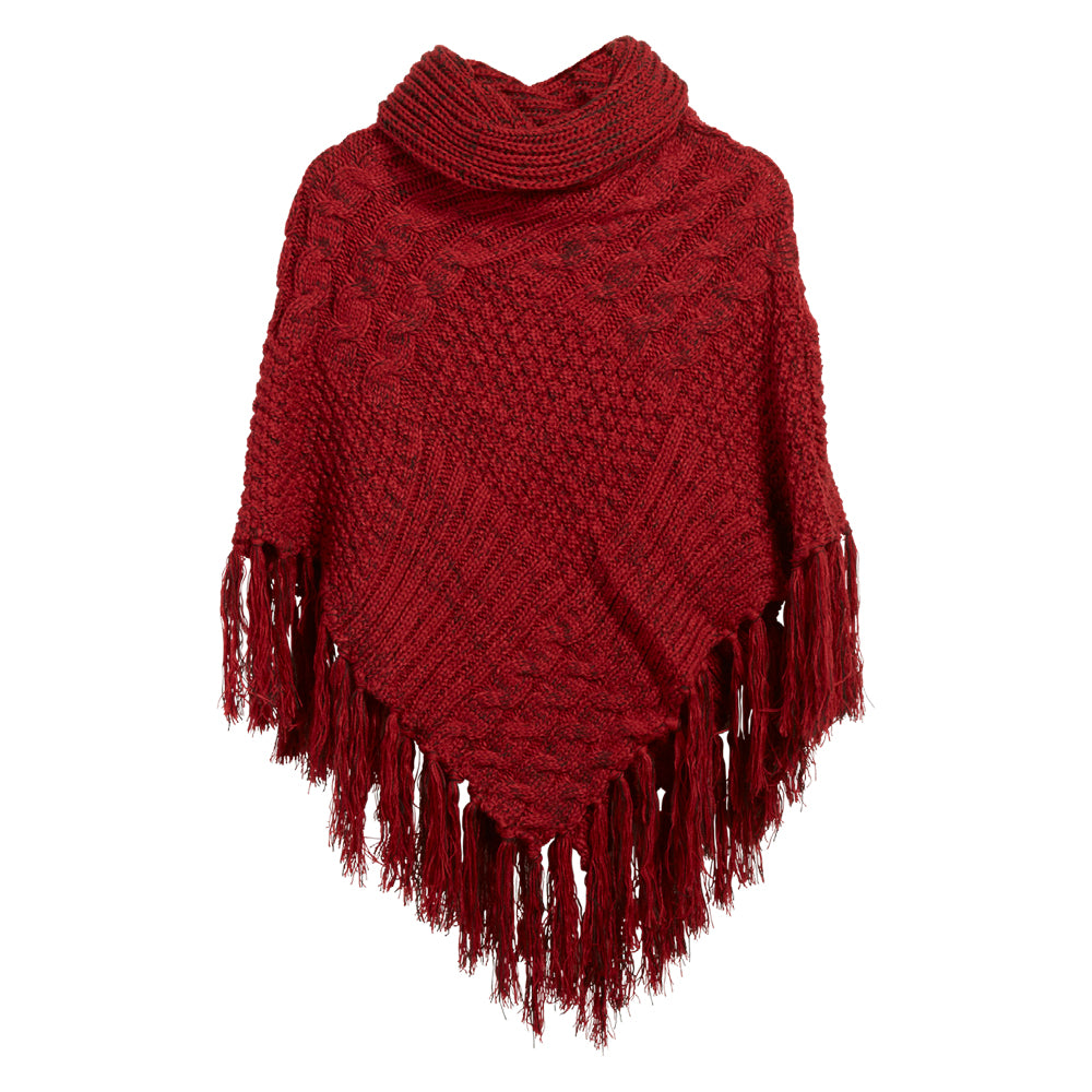 Patchwork Knit Poncho with Thick Fringe - Red - Tickled Pink Wholesale