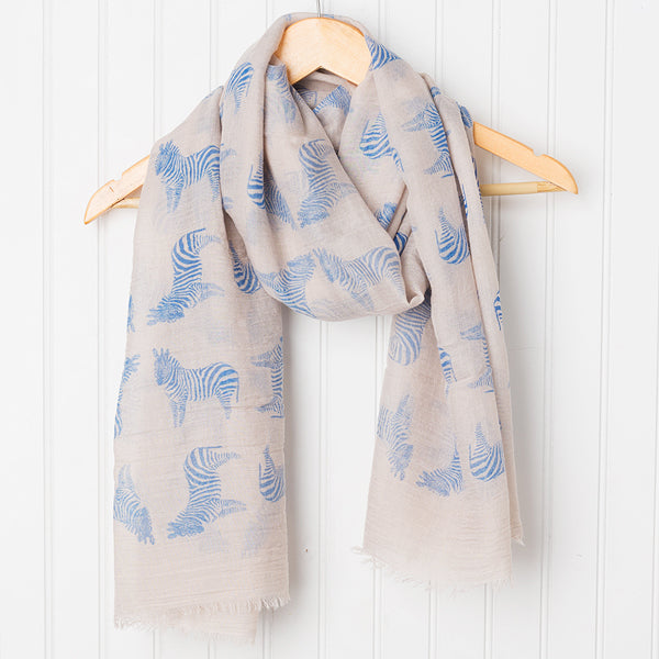 Wholesale Scarves - Fun Cotton Zebras Scarf - Blue - Tickled Pink
