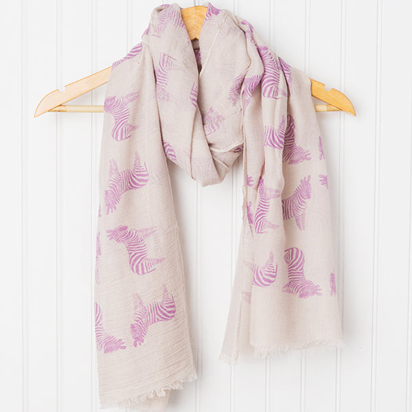 Wholesale Scarves - Fun Cotton Zebras Scarf - Purple - Tickled Pink