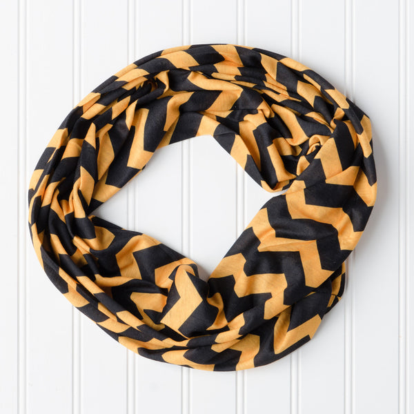 Wholesale Scarves - Chevron Jersey Infinity - Black Gold - Tickled Pink