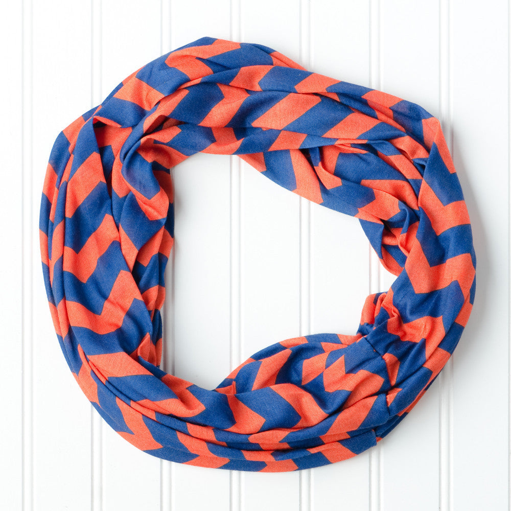 Wholesale Scarves - Chevron Jersey Infinity - Blue Orange - Tickled Pink