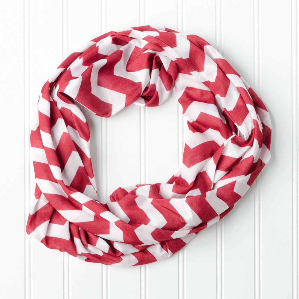 Wholesale Scarves - Chevron Jersey Infinity - Crimson - Tickled Pink