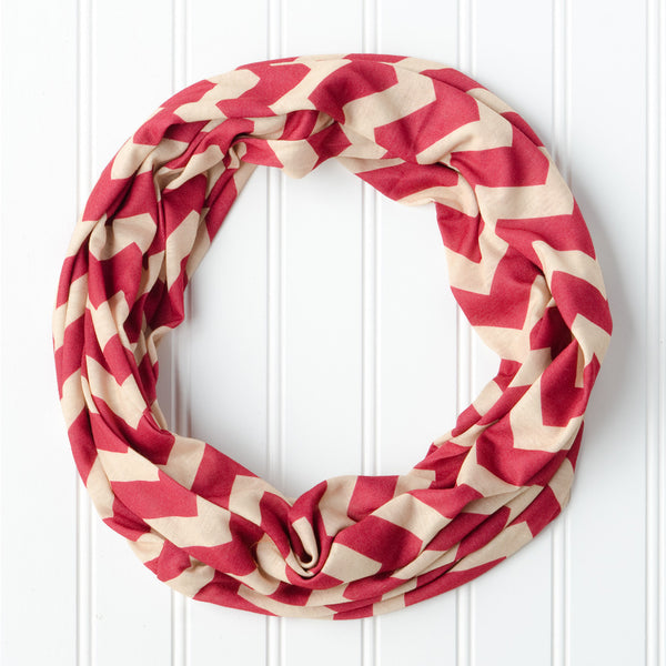 Wholesale Scarves - Chevron Jersey Infinity - Garnet Gold - Tickled Pink