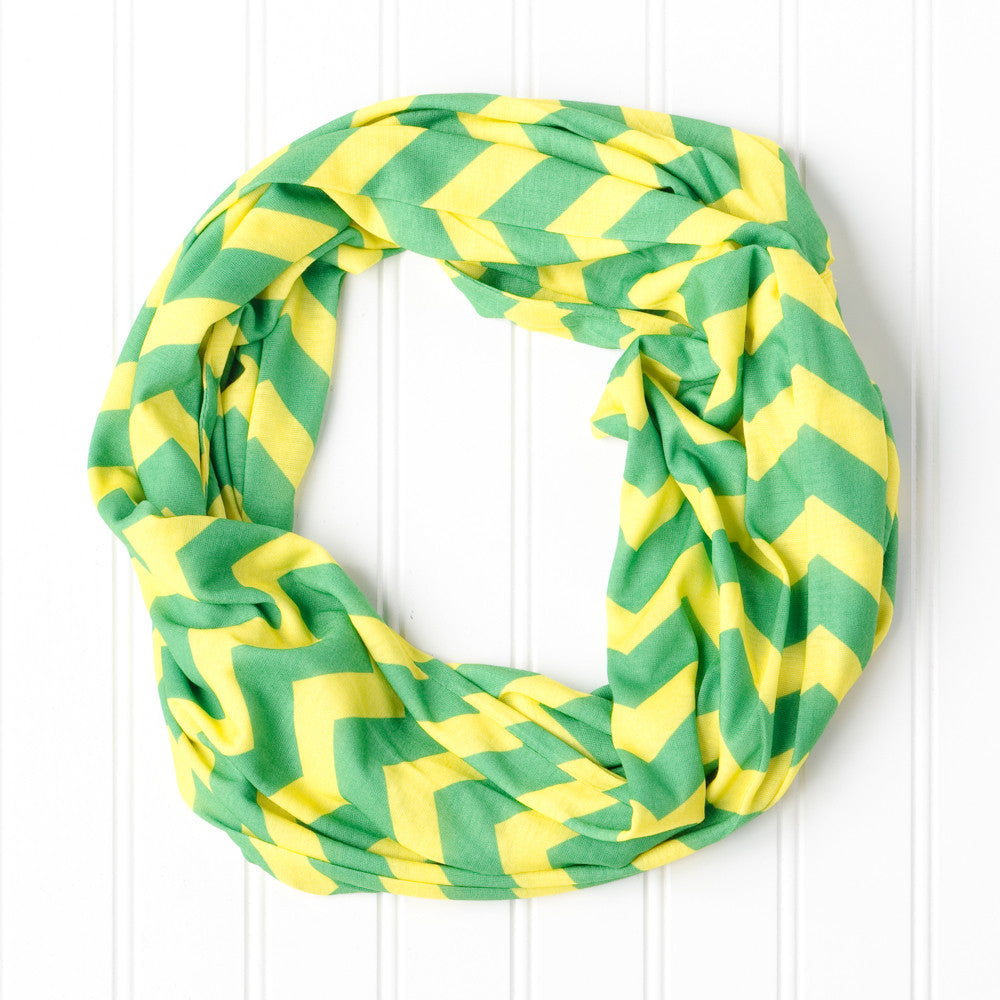 Wholesale Scarves - Chevron Jersey Infinity - Green Yellow - Tickled Pink