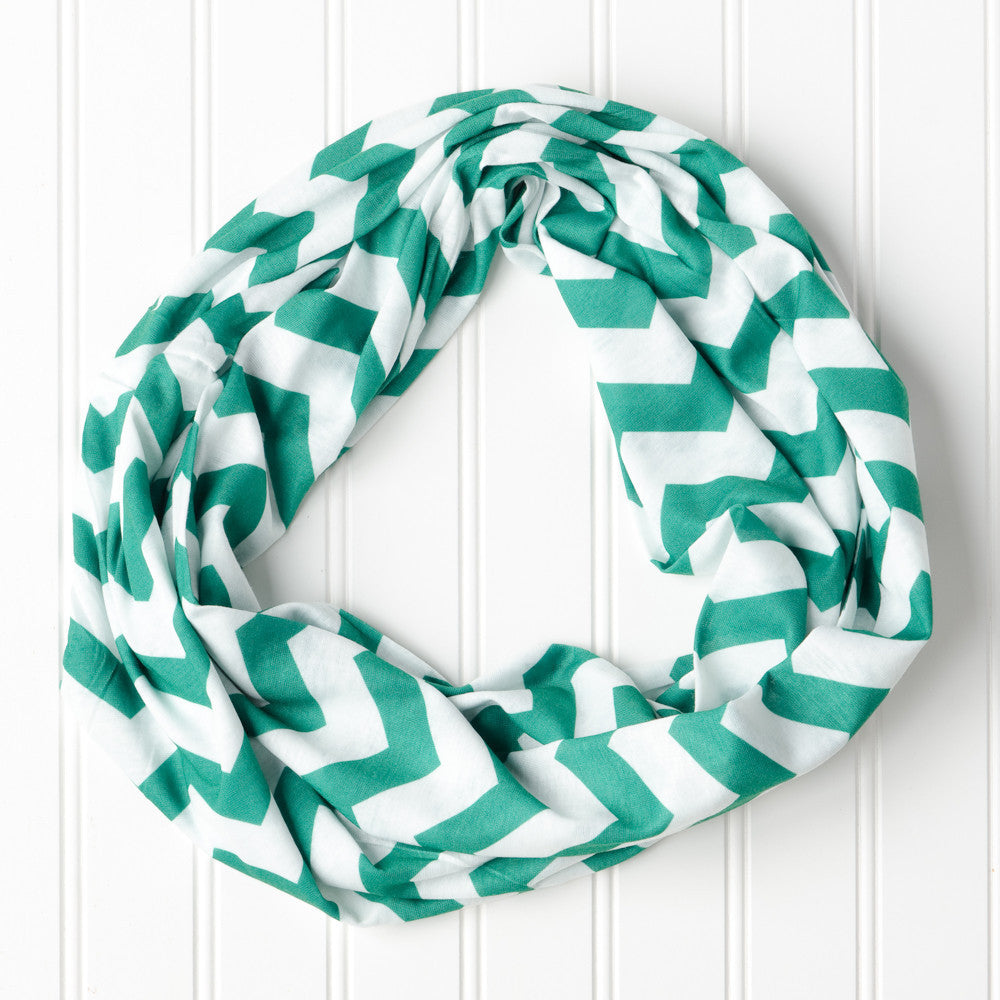 Wholesale Scarves - Chevron Jersey Infinity - Green - Tickled Pink