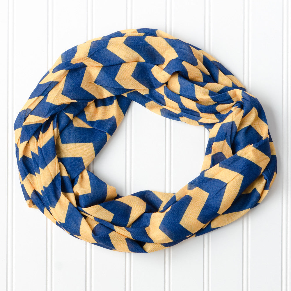 Wholesale Scarves - Chevron Jersey Infinity - Navy Gold - Tickled Pink