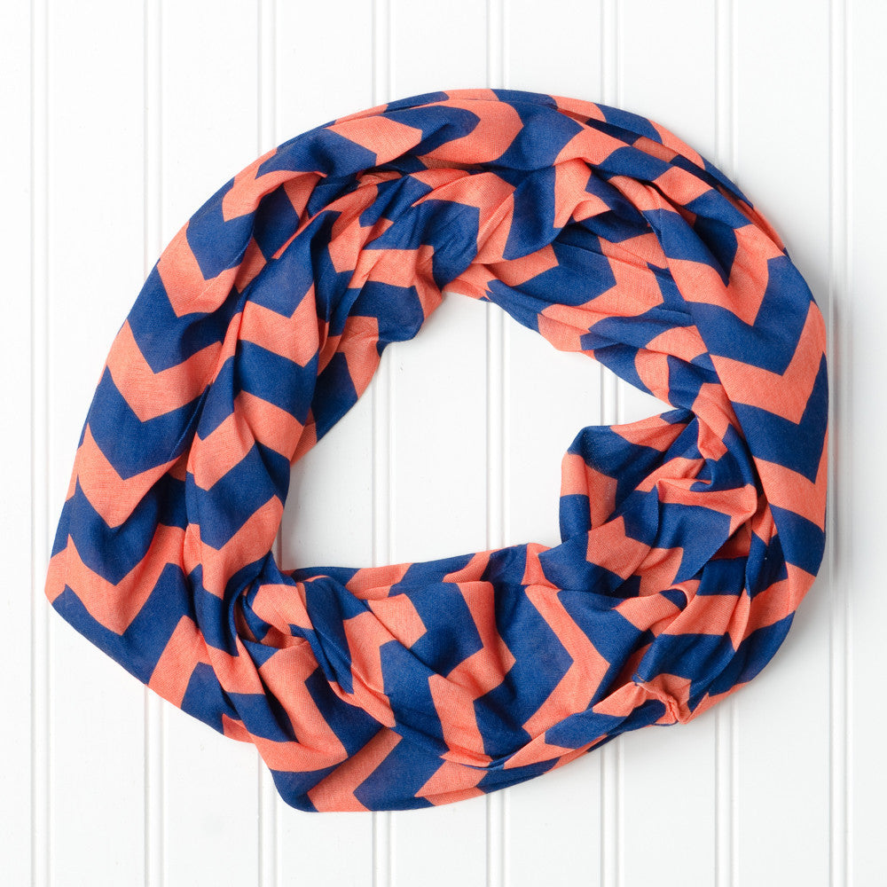Wholesale Scarves - Chevron Jersey Infinity - Navy Orange - Tickled Pink