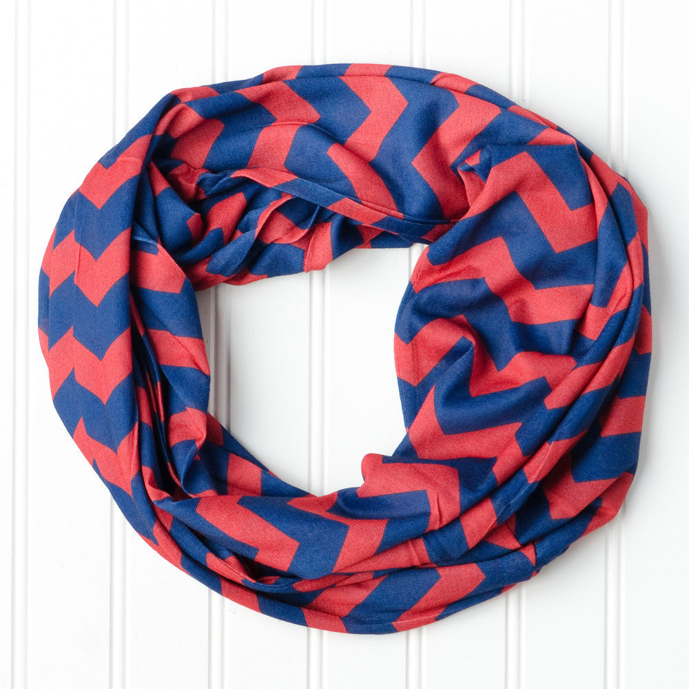 Wholesale Scarves - Chevron Jersey Infinity - Navy Red - Tickled Pink