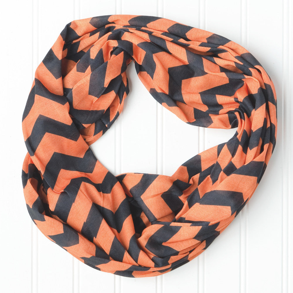 Wholesale Scarves - Chevron Jersey Infinity - Orange Black - Tickled Pink