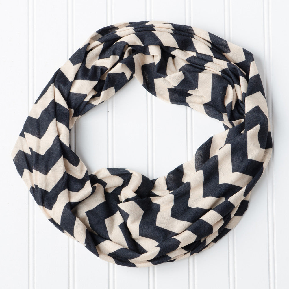 Wholesale Scarves - Chevron Jersey Infinity - Black/Old Gold - Tickled Pink