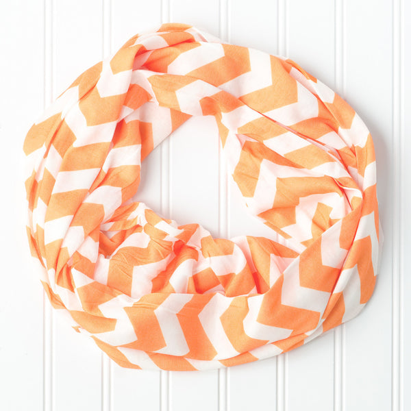 Wholesale Scarves - Chevron Jersey Infinity - Orange - Tickled Pink