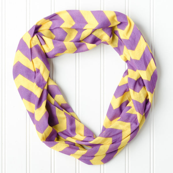 Wholesale Scarves - Chevron Jersey Infinity - Purple Gold - Tickled Pink