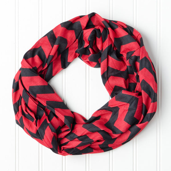 Wholesale Scarves - Chevron Jersey Infinity - Red Black - Tickled Pink