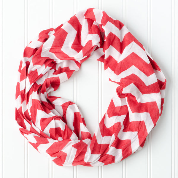 Wholesale Scarves - Chevron Jersey Infinity- Red - Tickled Pink