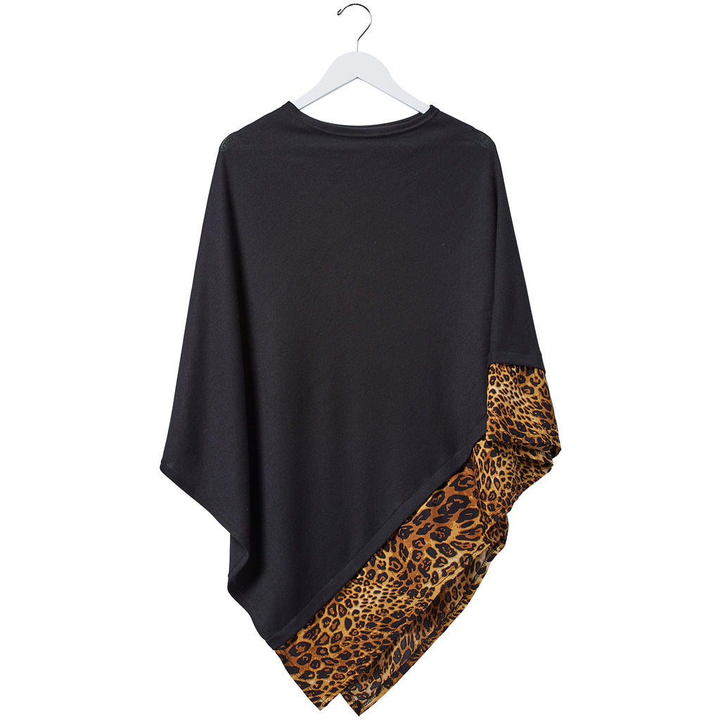 Leopard Poncho - Black - Tickled Pink Wholesale