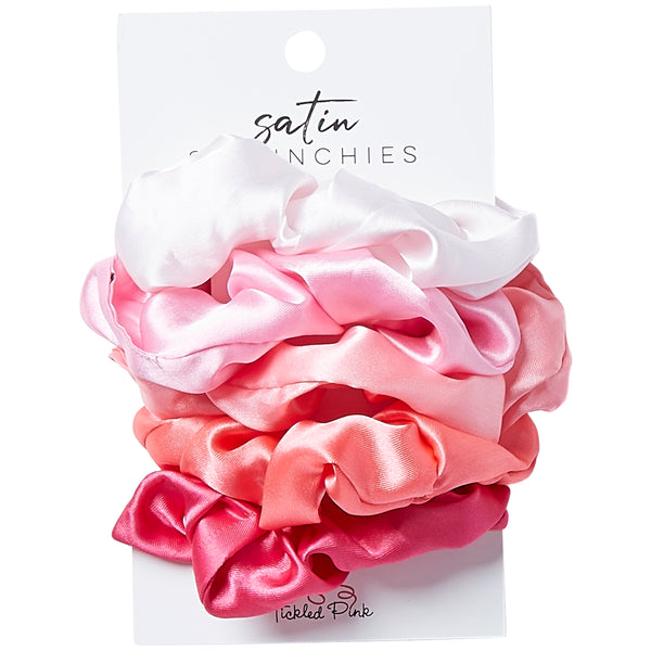 Silky Scrunchie Set Of 5 - Pink - Tickled Pink Wholesale