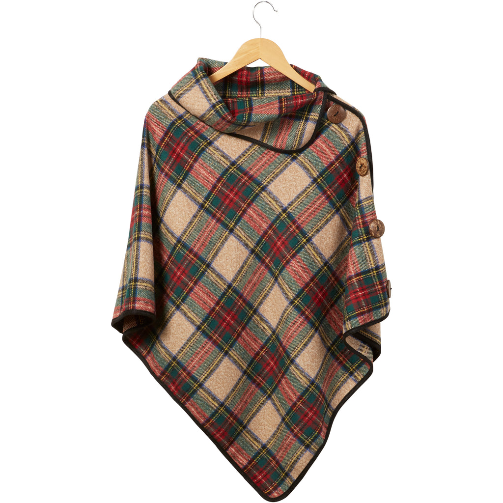 Spiced Wine Patrick Plaid Button Poncho - Tickled Pink Wholesale