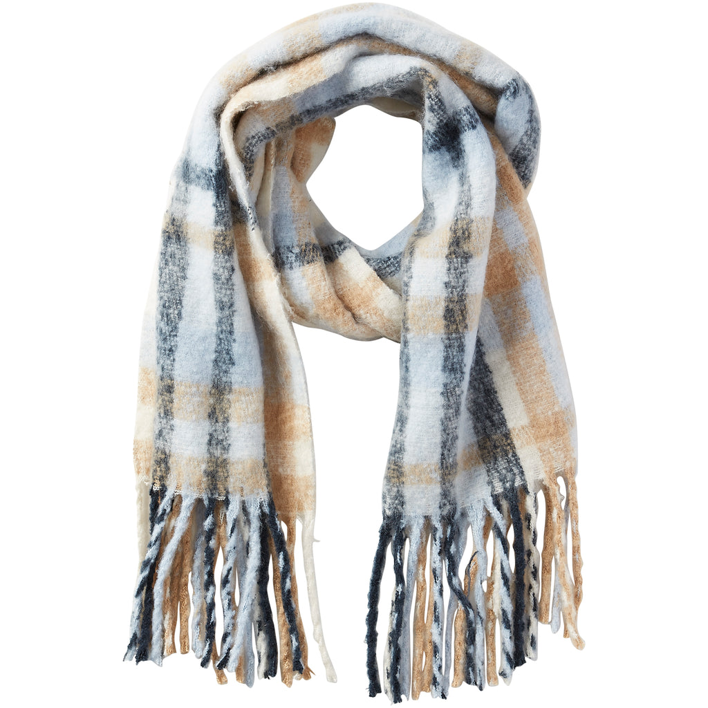 North Plaid Fuzzy Fringe Scarf - Blue - Tickled Pink Wholesale