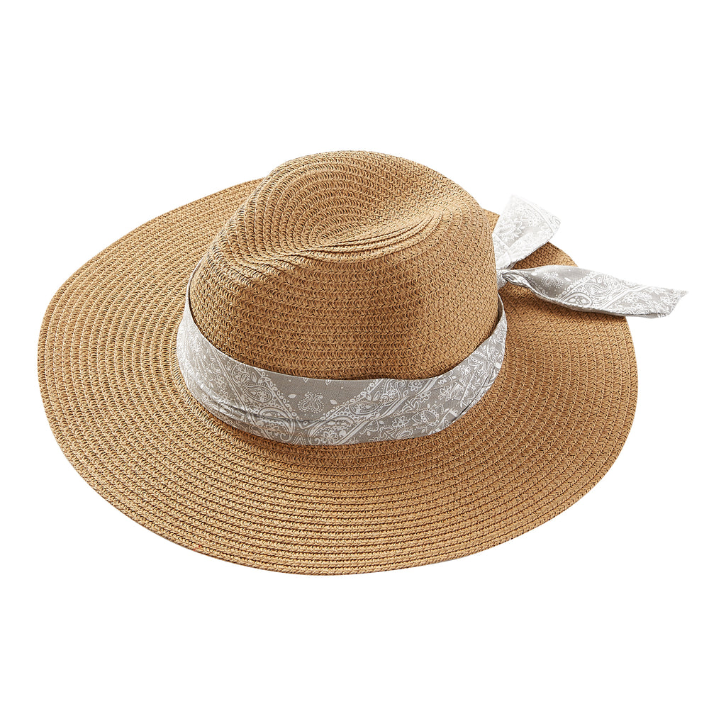 Wholesale Gray Bandana Panama Hat