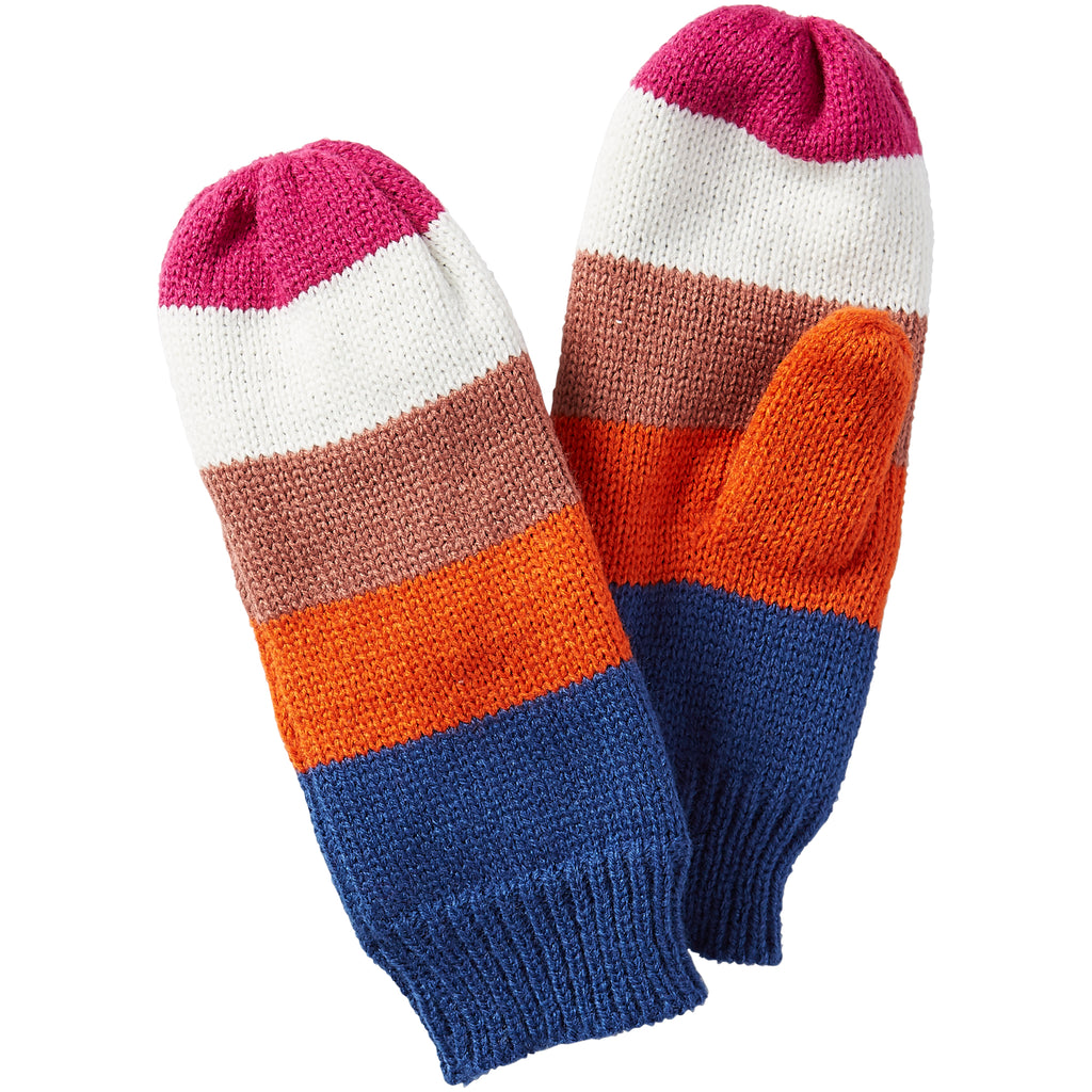 Stripe Mittens - Bright - Tickled Pink Wholesale