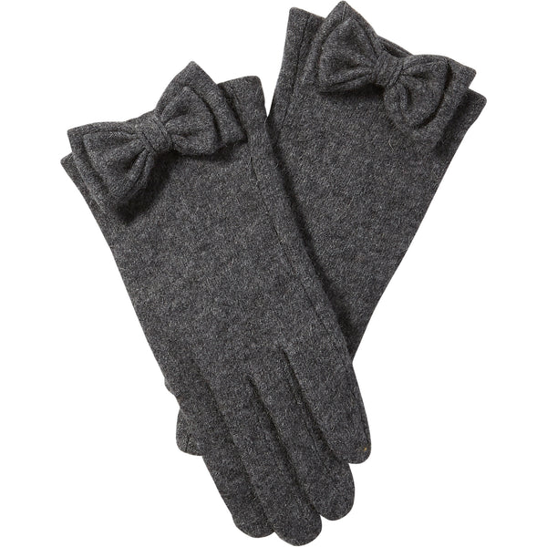 Gray Harper Wool Bow Gloves