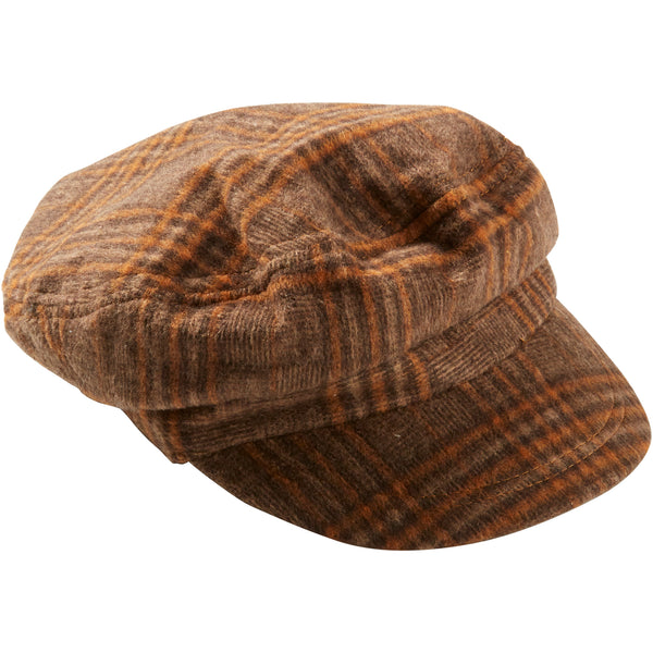 Walnut & Ginger Scout Plaid Newsboy Cap - Tickled Pink Wholesale