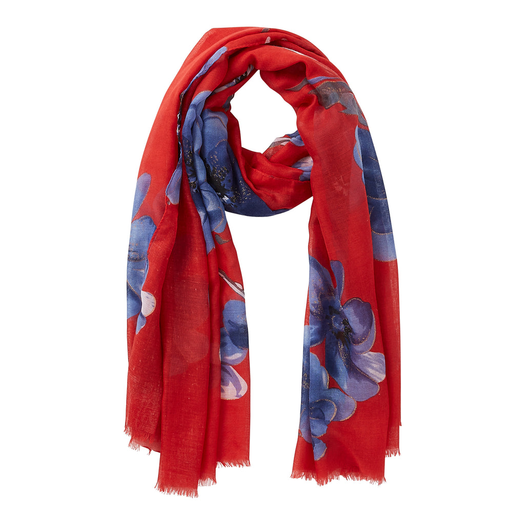 Wholesale Red Shimmer Garden Scarf