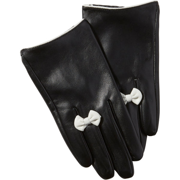 Black Petite Bow Leather Gloves