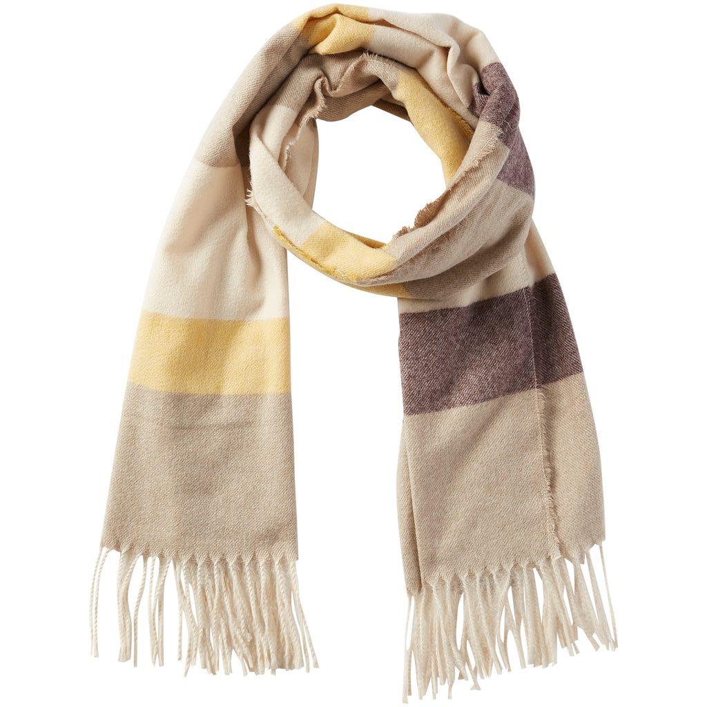 Jack Stripe Fringe Scarf - Yellow & Beige - Tickled Pink Wholesale