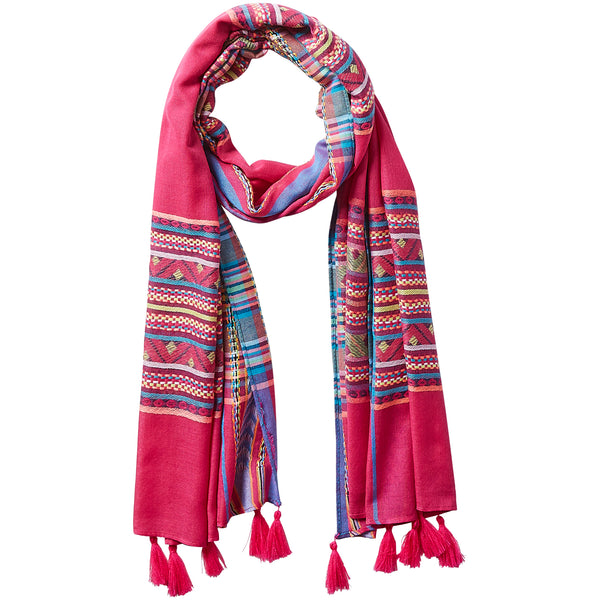 Wholesale Aztec Plaid Tassel Scarf - Fuchsia