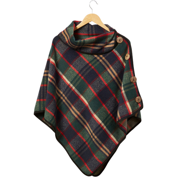 Winter Green Patrick Plaid Button Poncho - Tickled Pink Wholesale