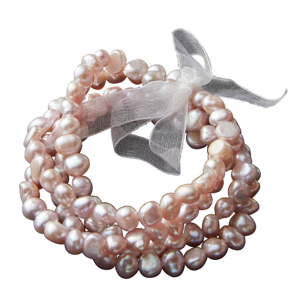 Wholesale 4 Strand Freshwater Pearl Bracelet- Pink