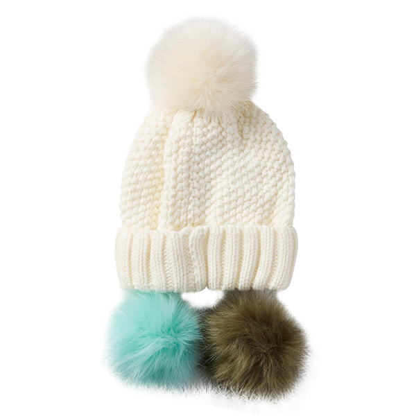 Snap On Pom Pom Beanie - White - Tickled Pink Wholesale