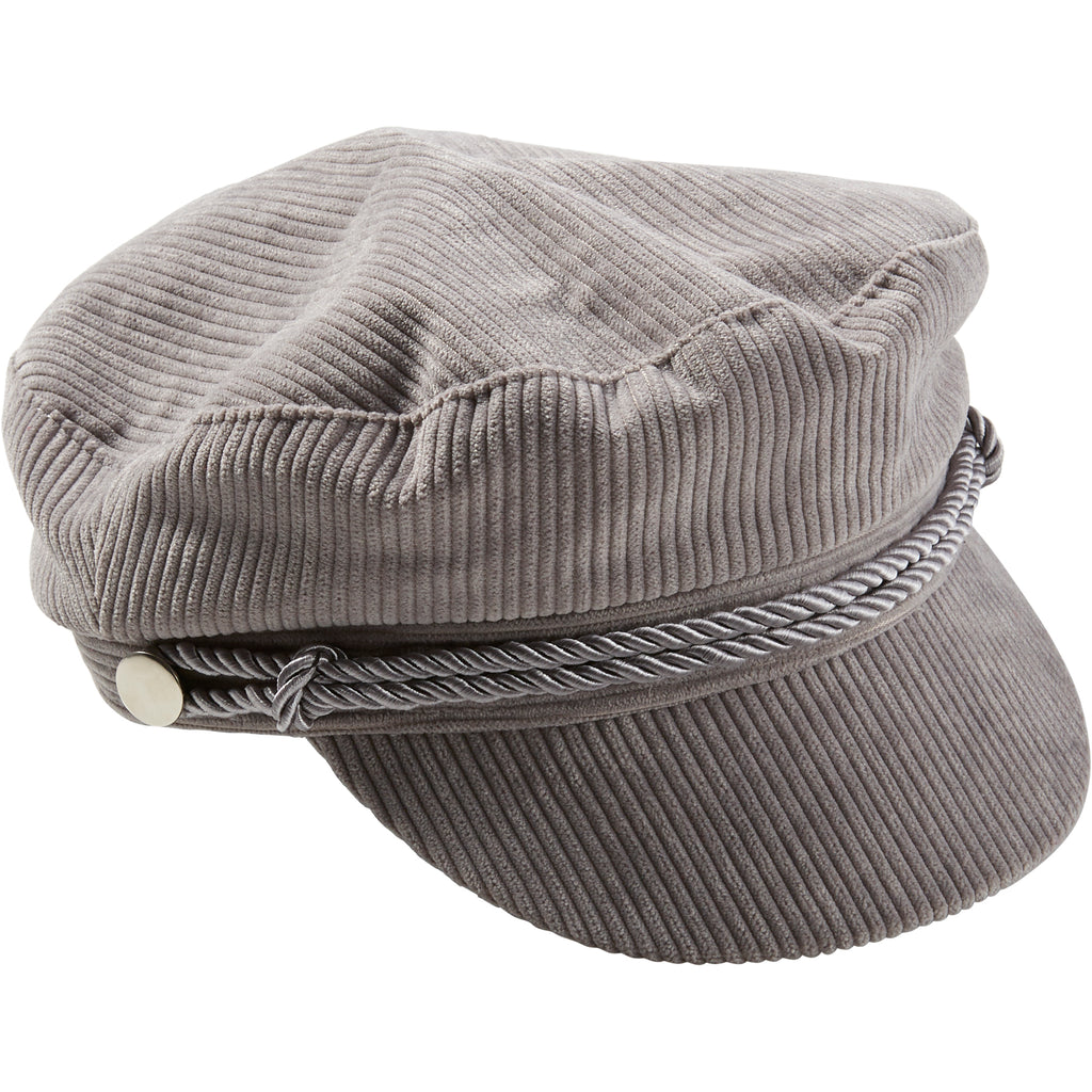 Gray Corduroy Newsboy Cap - Tickled Pink Wholesale