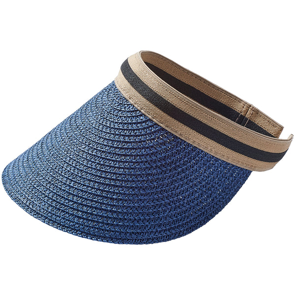 Vacay Straw Visor - Navy - Tickled Pink Wholesale