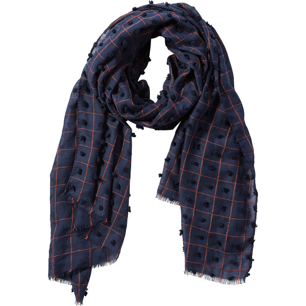 Navy Knotted Squares Scarf - Tickled Pink Wholesale