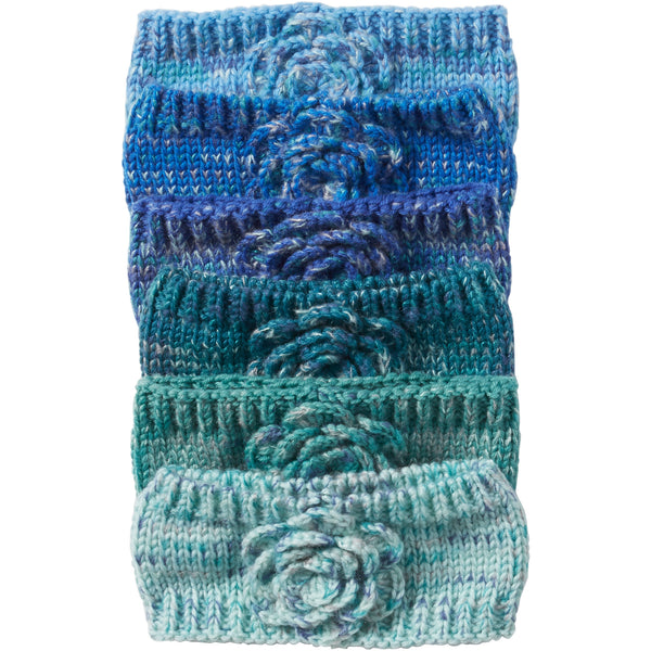 Blue Multiknit Flower Headbands Mixed 12 Pack - Tickled Pink Wholesale