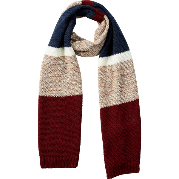 Wine Willa Colorblock Cableknit Scarf