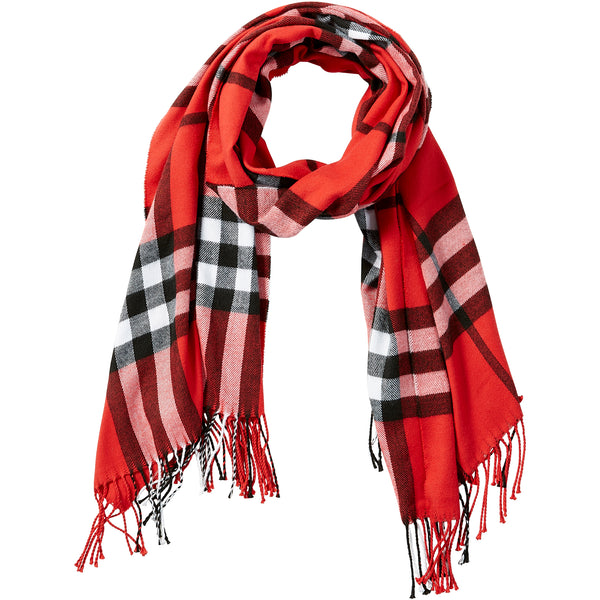 Red Regan Plaid Scarf - Tickled Pink Wholesale
