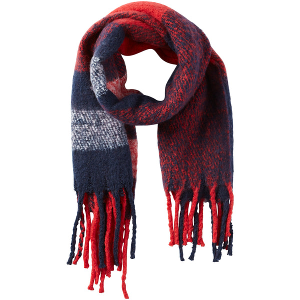 North Plaid Fuzzy Fringe Scarf - Red - Tickled Pink Wholesale