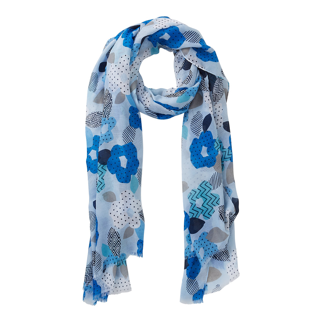 Wholesale Blue Blooming Poppy Scarf