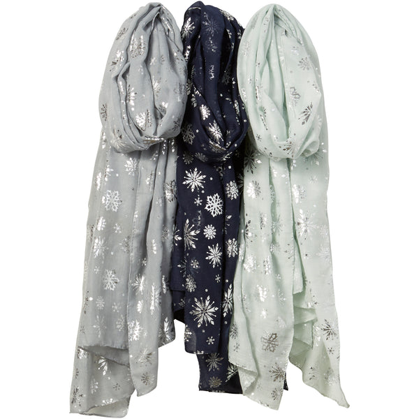 Silver Snowflakes Scarves Mixed 3 Pack - Tickled Pink Wholesale