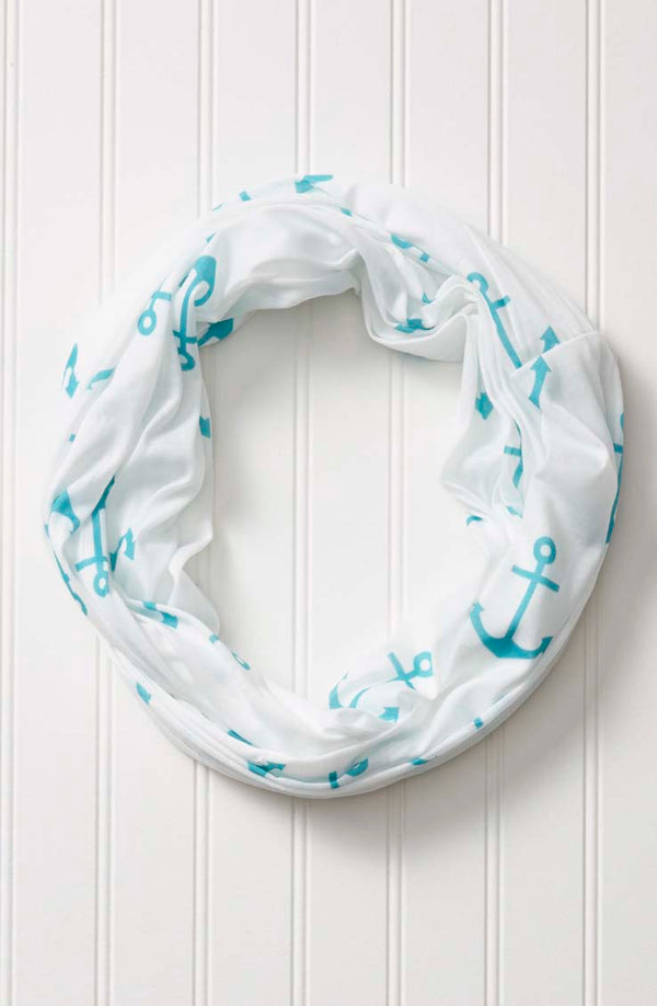 wholesale  Anchors On White Infinity - Turquoise