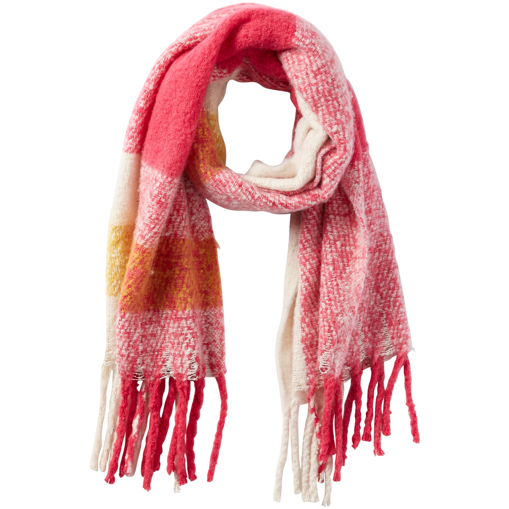 North Plaid Fuzzy Fringe Scarf - Pink - Tickled Pink Wholesale