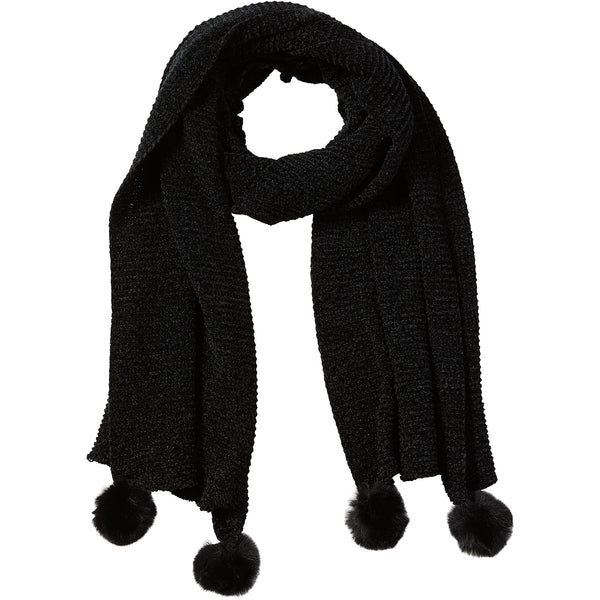 Black Sara Chenille Cozy Scarf - Tickled Pink Wholesale