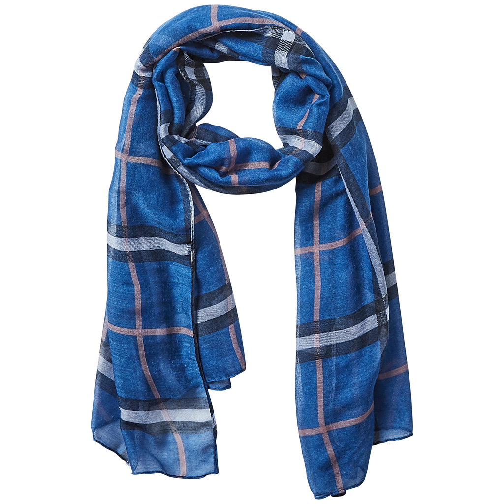 Preppy Lightweight Plaid Scarf - Navy - Tickled Pink Wholesale