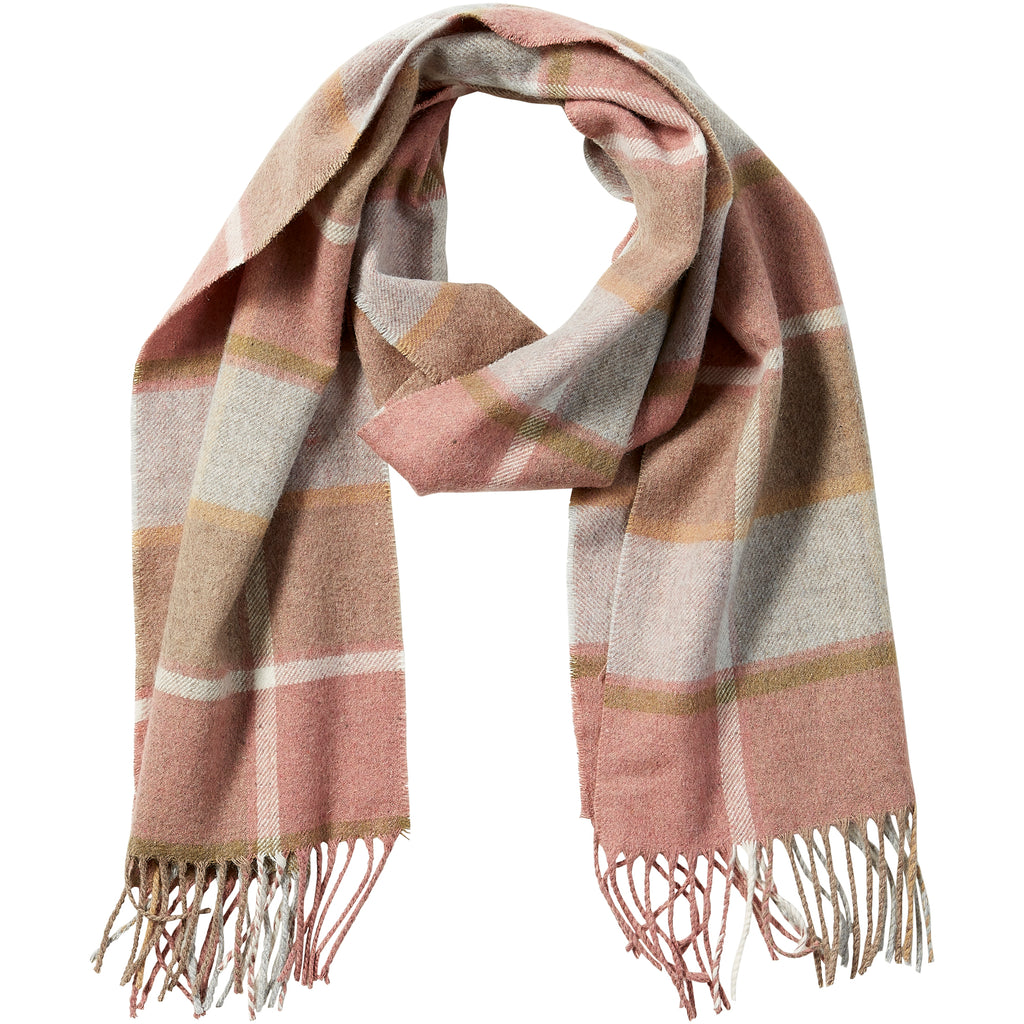 Pink Wool Plaid Fringe Scarf - Tickled Pink Wholesale