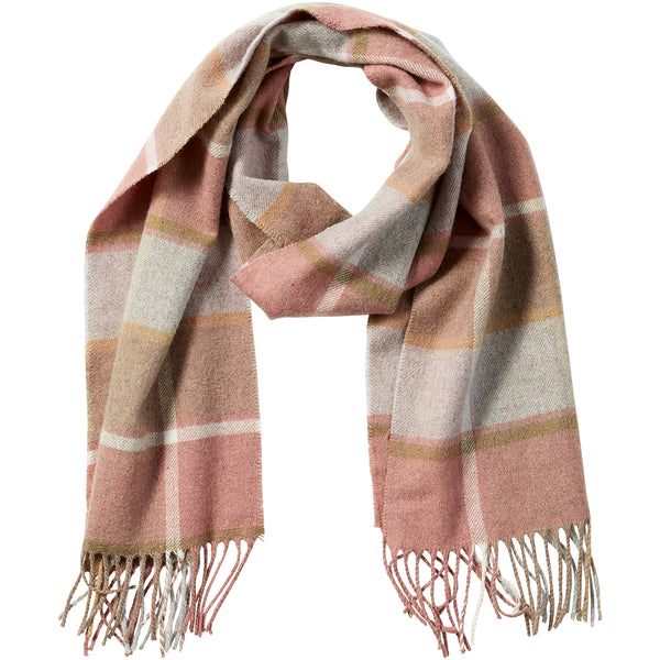 Pink Wool Plaid Fringe Scarf