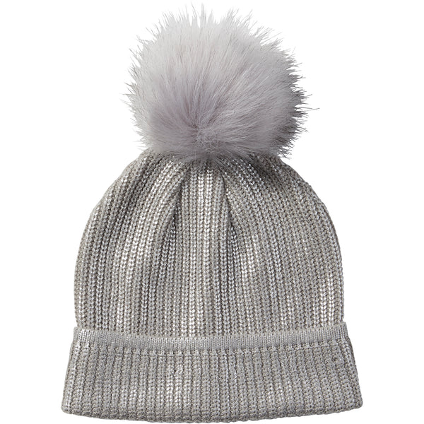 Silver Glam Pom Pom Beanie - Tickled Pink Wholesale