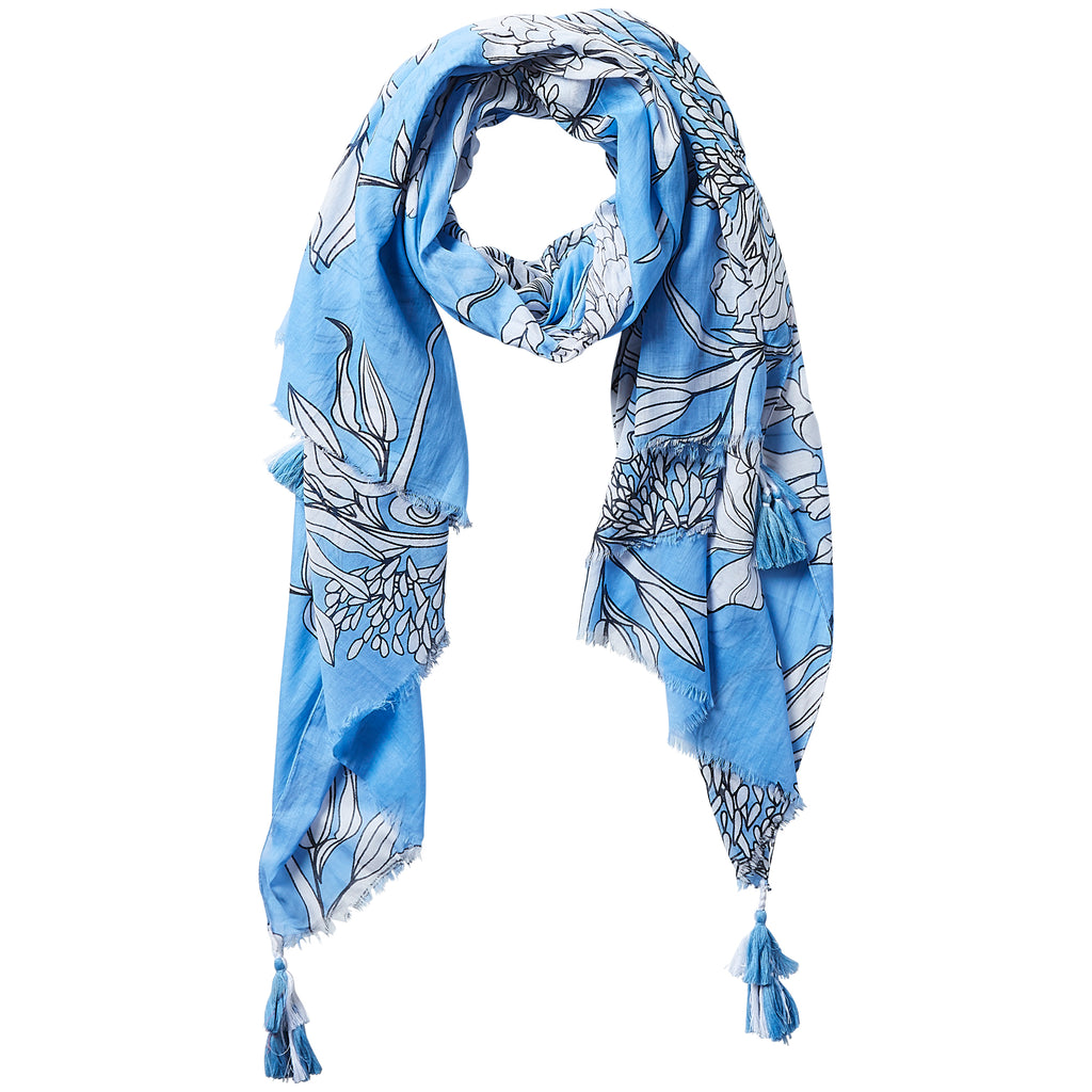 Dahlia Tassel Scarf - 90's Blue - Tickled Pink Wholesale
